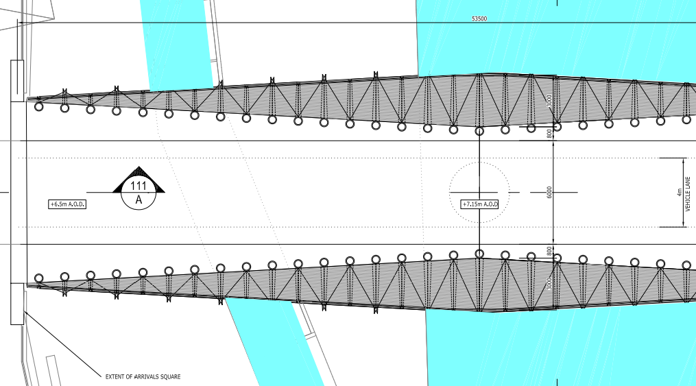 Plan of Wensum Bridge showing the available width and bollard layout